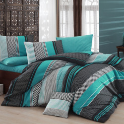 Lenjerie de pat pentru o persoana, Nazenin Home, Zigo Turquoise FR, 2 piese, policoton, multicolor