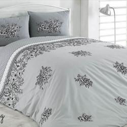 Lenjerie de pat pentru o persoana Spring v1, Majoli Home Collection, 3 piese, 160x240 cm, bumbac ranforce, gri