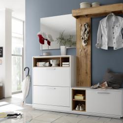 Mobilier pentru hol, Milano, 1 x pantofar, 1 x bancheta, 1 x oglinda, 1 x cuier, PAL, alb/bej