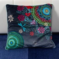 Perna Decorativa 50x50 cm, Puf siliconic + Catifea, Multicolor, Z08-13