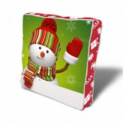 Perna decorativa Snowman w glove, Christmas, 43x43 cm, policoton, multicolor