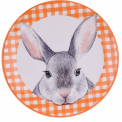 Platou pentru servire Bunny, Ø20 cm, dolomit, portocaliu