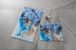 Set 2 covorase de baie Water Foam, Confetti, 50x57 cm/57x100 cm, albastru