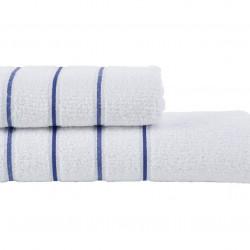 Set 2 prosoape de baie ET.17.004, Class, 100% bumbac, alb/albastru