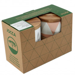 Set 2 recipiente cu capac Triangles, Jocca, 10 x 15 cm, portelan/salcam, multicolor