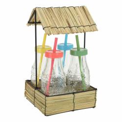 Set 4 sticle cu pai Color, 250 ml, sticla, multicolor