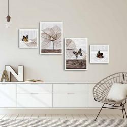 Set 4 tablouri decorative, Alpha Wall, Butterfly, 30x30/35x50 cm