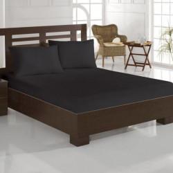 Set cearceaf de pat cu elastic si 2 fete de perna, Eponj Home, Duz Boya Black, 160x200 cm, 100% bumbac, negru
