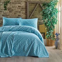 Set cuvertura de pat dubla, EnLora Home, Square - Light Blue, 3 piese, 80% bumbac, 20% vascoza, bleu