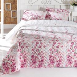 Set cuvertura de pat dubla matlasata, Eponj Home, Coretta Light Pink, 3 piese, 65% bumbac, 35% poliester, alb/roz