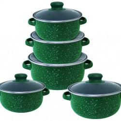 Set de gatit 10 piese Carla, Vanora, otel carbon emailat/sticla, verde