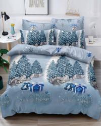 Set Lenjerie Crăciun, Bumbac Tip Finet, Cu Elastic, Pat 2 Persoane, Happy Holidays, FNJEC-08