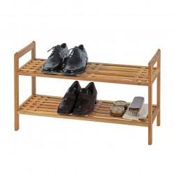 Suport pantofi Norway Brown, Wenko, 6 perechi, 60x40.5x27 cm, lemn de nuc, natur
