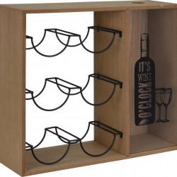 Suport pentru 6 sticle de vin Wine o'clock, 40x15x35 cm, natur/negru