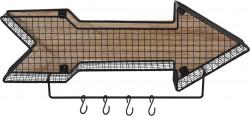 Suport pentru depozitare cu 4 carlige, 51x85x18.5 cm, metal, negru
