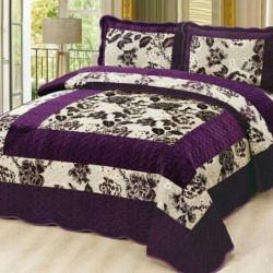 Set Cuvertura de Pat din Catifea + 2 Fete de Perna, Pat 2 Persoane, Purple Flower Square - CCC-48