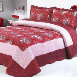 Set Cuvertură Mătase + 2 Fețe de Perne, Elegant Red, CCM-03