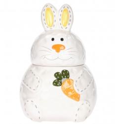Borcan cu capac Rabbit, 18x25 cm, dolomita, multicolor