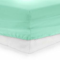 Cearceaf de pat cu elastic Turquoise Heinner, 140x200 cm, 100% bumbac, turcoaz