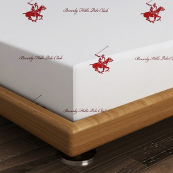 Cearceaf de pat dublu, 240x260 cm, 100% bumbac ranforce, Beverly Hills Polo Club, Grey/White