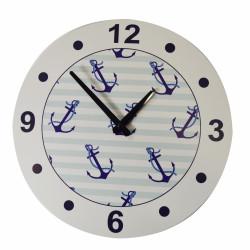 Ceas de perete Anchor, Jocca, 33 cm, MDF, alb/albastru