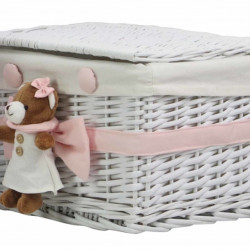 Cos S Pink Bear, Bedora, salcie/material textil, alb/roz