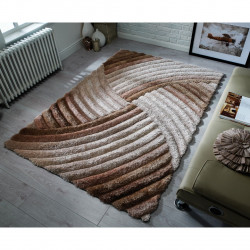Covor Verge Furrow Natural, Flair Rugs, 160 x 230 cm, 100% poliester, maro
