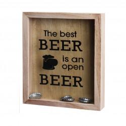 Cutie decorativa pentru dopuri de bere Beer tops, 20x4,2x25 cm, lemn