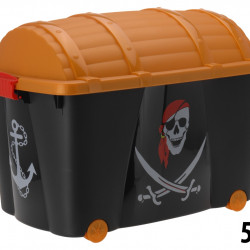 Cutie pentru depozitare Pirate, 60x40x42 cm, polipropilena, negru/maro