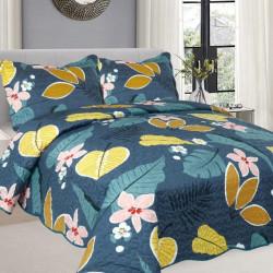 Cuvertura de pat + 2 Fete de Perne, Bumbac Tip Finet, Imprimata, Pat 2 persoane, CFI-92