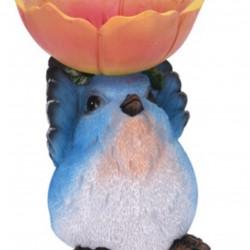 Decoratiune Bird with flower, 19x16x20.5 cm, polistone, portocaliu/albastru