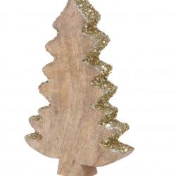 Decoratiune Xmas Tree, 15x3x22 cm, lemn de mango, paiete aurii/argiuntii