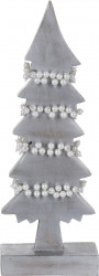 Decoratiune Xmas Tree w pearls , 13x6x31 cm, lemn de mango, alb/argintiu