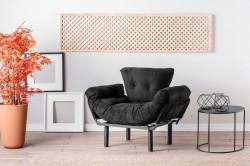 Fotoliu extensibil Nitta Single, Futon,135x70 cm,metal, negru