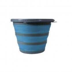 Galeata pliabila Jocca, 8 L, silicon/plastic, albastru/gri