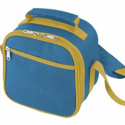 Geanta termoizolanta + cutie alimentara Blue, Jocca, 12.5 x 20 x 20 cm, plastic/poliester/PEVA, albastru/galben