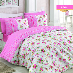 Lenjerie de pat dubla Rosa, Majoli Home Collection, 4 piese, 200x220 cm, 100% bumbac ranforce, roz