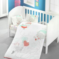 Lenjerie de pat pentru copii, Victoria, Baby Sky, 4 piese, 100% bumbac ranforce, multicolor