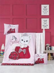 Lenjerie de pat pentru copii, Victoria, Tiny Cat, 4 piese, 100% bumbac ranforce, multicolor