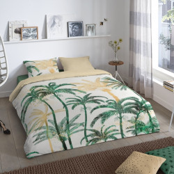 Lenjerie de pat pentru doua persoane, Good Morning Bohemian, 100% bumbac, 3 piese, alb/verde/bej