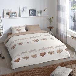 Lenjerie de pat pentru doua persoane, Good Morning Hearts, 100% bumbac, 3 piese, bej/maro