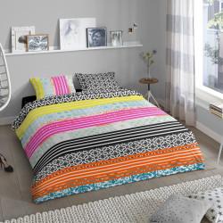 Lenjerie de pat pentru doua persoane, Good Morning Merkis, 100% bumbac, 3 piese, multicolora