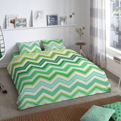 Lenjerie de pat pentru doua persoane, Good Morning Zigzag, 100% bumbac, 3 piese, multicolor