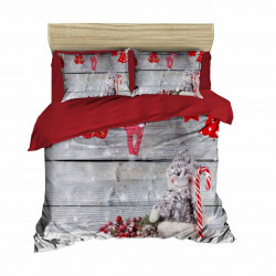 Lenjerie de pat pentru doua persoane, Pearl Home, 415, print 3D, policoton, 4 piese, alb/rosu/gri