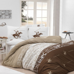 Lenjerie de pat pentru o persoana, Cappuccino, Beverly Hills Polo Club, 3 piese, 160 x 240 cm, 100% bumbac ranforce, maro/crem/alb