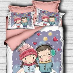 Lenjerie de pat pentru o persoana Girl a Boy-110, Pearl Home, 4 piese, bumbac amestecat, multicolor