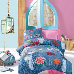 Lenjerie de pat pentru o persoana Kelly, Cotton Box, 3 piese, 160 x 240 cm, 100% bumbac ranforce, multicolora