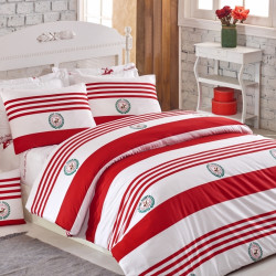 Lenjerie de pat pentru o persoana, Red & White, Beverly Hills Polo Club, 100% bumbac ranforce, rosu/alb/verde