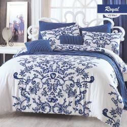 Lenjerie de pat pentru o persoana Royal, Majoli Home Collection, 3 piese, 160x240 cm, 100% bumbac ranforce, alb/mov