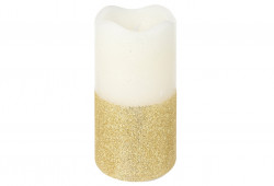 Lumanare LED Golden glitter, 7x13 cm, alb/auriu